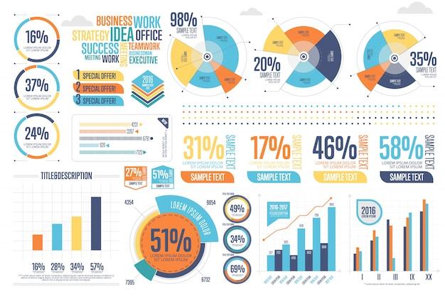 Infographics di affari impostato con diagramma diverso Vettore Premium