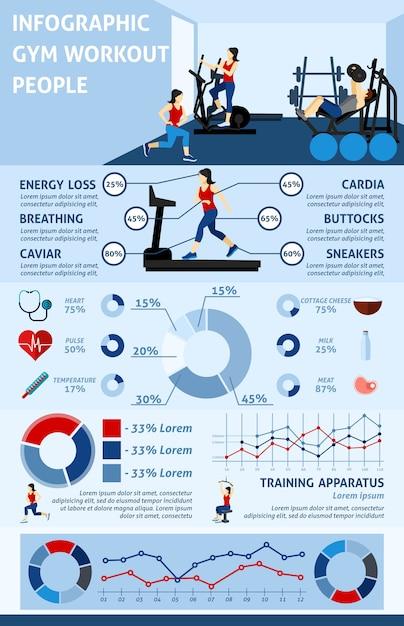 Infographics di allenamento di palestra Vettore gratuito