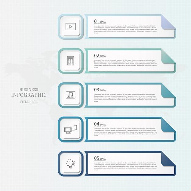 Infographics di colore blu e icone di linea. Vettore Premium
