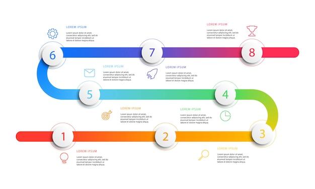 Infographics di flusso di lavoro di cronologia di affari con elementi rotondi 3d realistici. Vettore Premium
