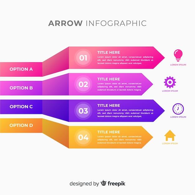 Infographics di freccia gradiente colorato tridimensionale Vettore gratuito
