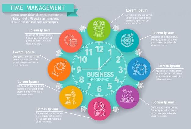 Infographics di gestione del tempo impostato con simboli di affari di schizzo Vettore gratuito