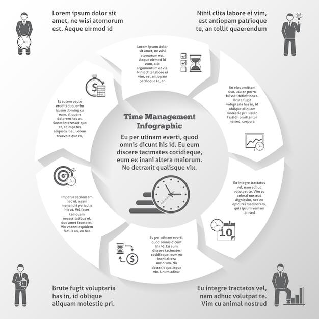 Infographics di gestione del tempo Vettore gratuito