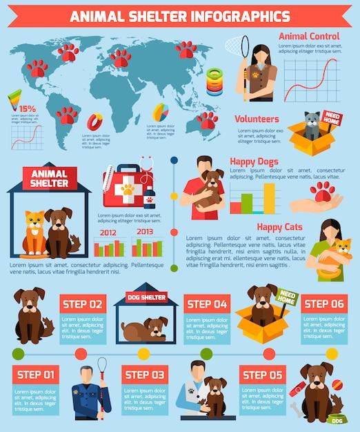 Infographics di rifugio per animali Vettore gratuito