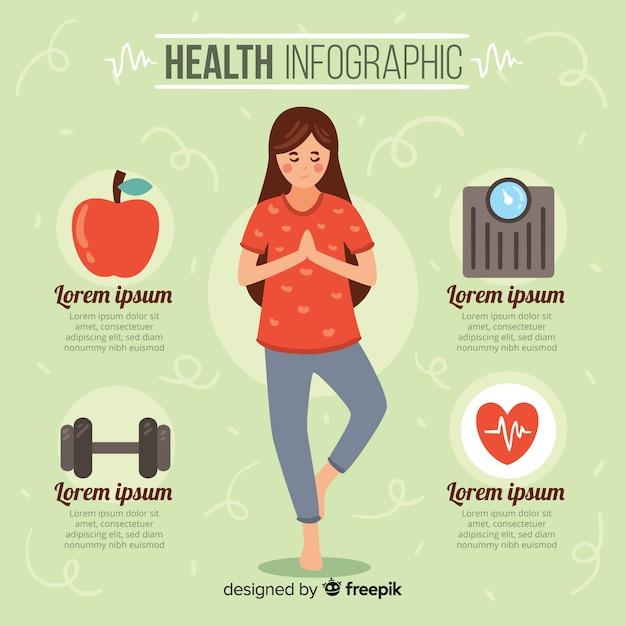 Infographics di salute piatta degli atleti Vettore gratuito