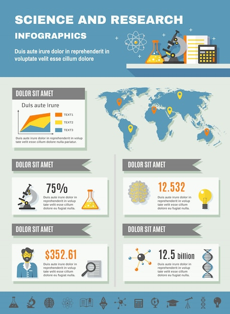 Infographics di scienza e ricerca Vettore gratuito