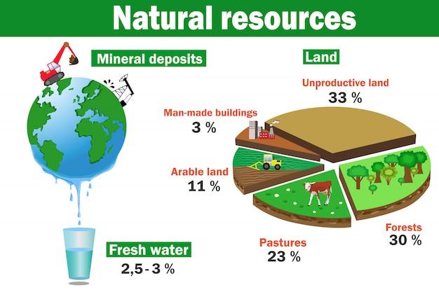 Infographics di vettore di risorse ambientali naturali Vettore Premium