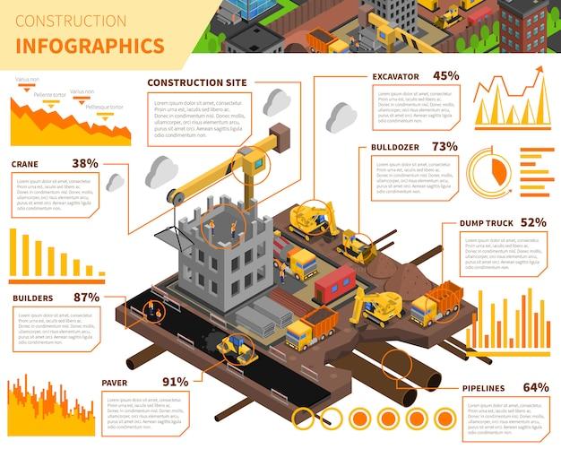 Infographics isometrico della costruzione di edifici Vettore gratuito