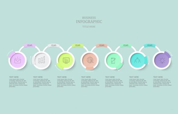 Infographics sette cerchi ed icone dell'elemento per il concetto attuale di affari. Vettore Premium