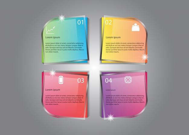 Informazioni colorate di incandescenza piacevole di progettazione infographic di vettore Vettore Premium