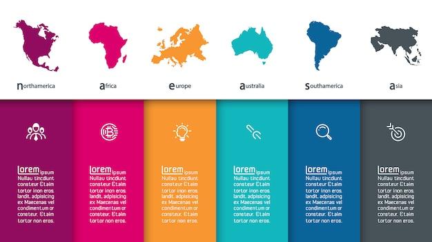 Informazioni di infographics continentali su grafica vettoriale. Vettore Premium