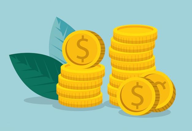 Informazioni di marketing aziendale con monete e foglie Vettore gratuito