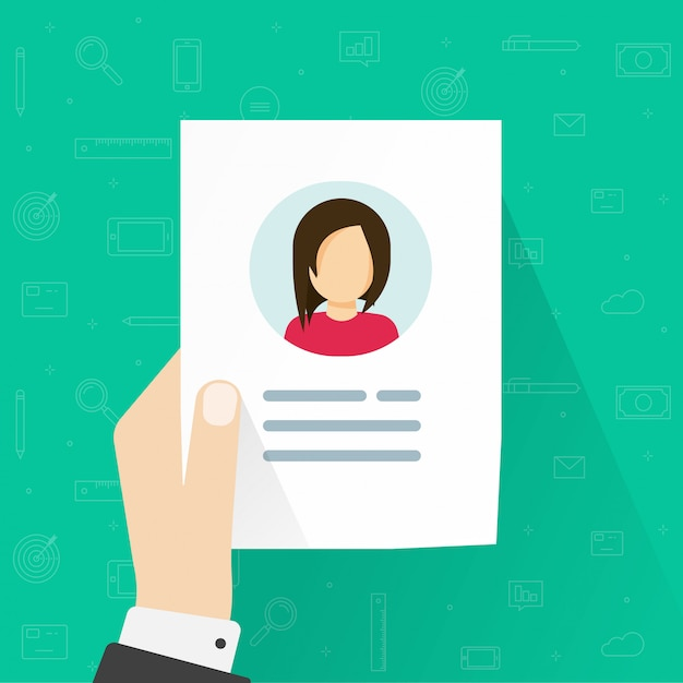 Informazioni personali o icona del profilo utente in mano Vettore Premium