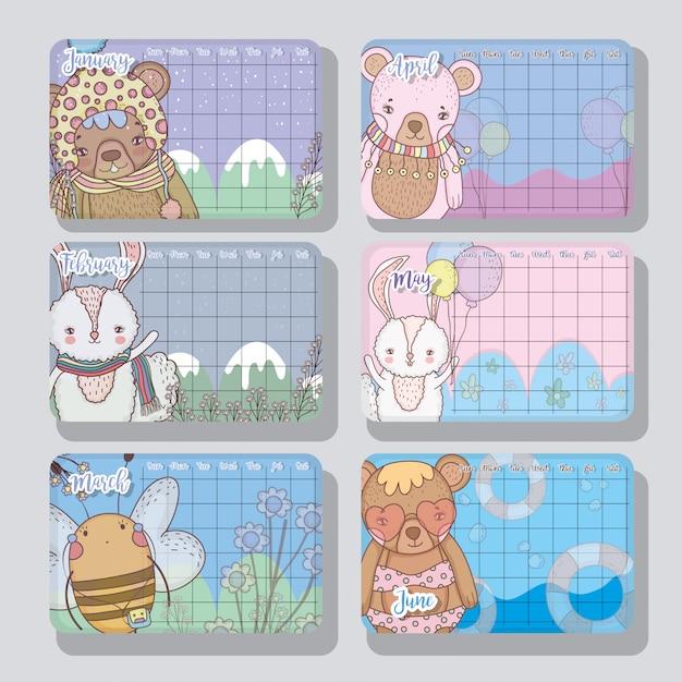 Informazioni sul calendario con stile simpatico animali Vettore Premium