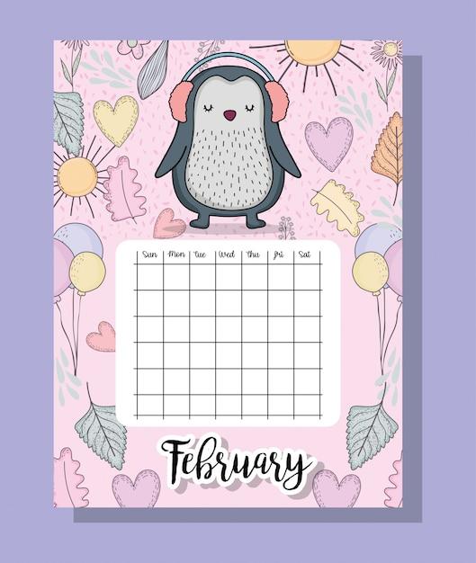 Informazioni sul calendario di feubrary con pinguino e fiori Vettore Premium