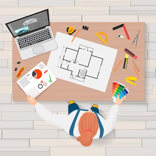 Ingegnere di costruzione dell'architetto che crea vista superiore di processo Vettore Premium