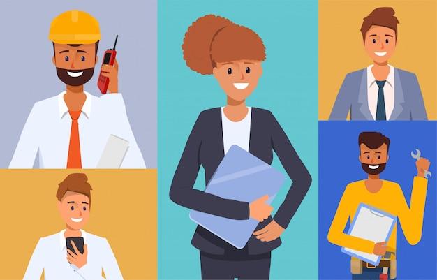 Ingegnere e meccanici e tecnici persone industria personaggio animazione scena Vettore Premium