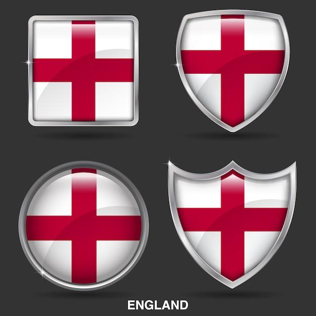 Inghilterra bandiere in 4 forma icona Vettore Premium