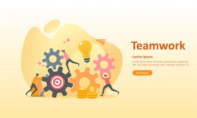 Ingranaggio di collegamento di lavoro di squadra Vettore Premium