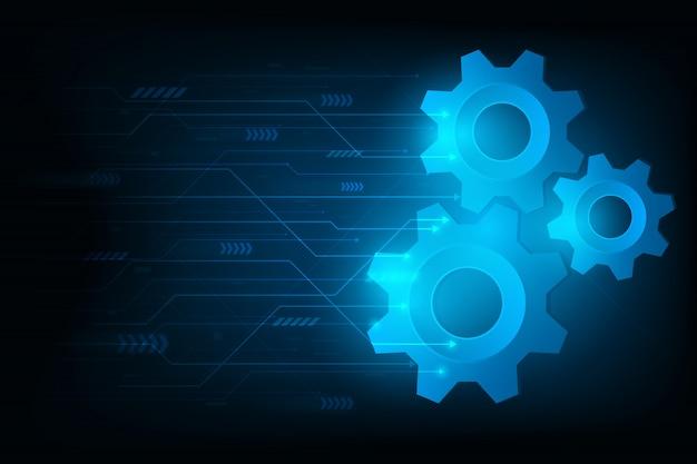 Ingranaggio futuristico del motore per il sistema per forward a future.vector e illustrazione Vettore Premium