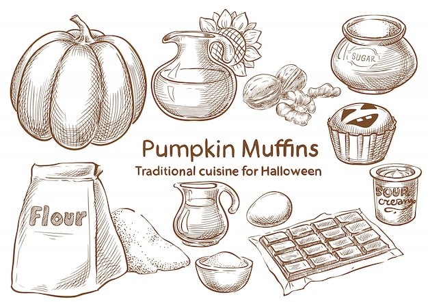 Ingredienti alimentari tradizionali di halloween Vettore Premium