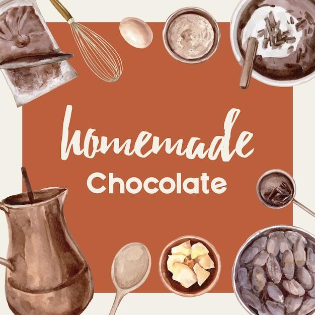 Ingredienti dell'acquerello del cioccolato che producono il forno del cioccolato, uovo, burro, illustrazione Vettore gratuito