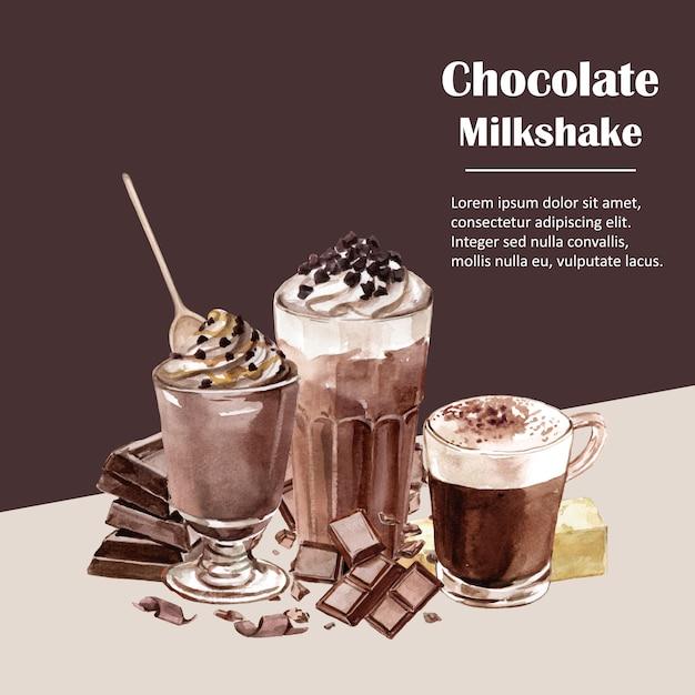 Ingredienti dell'acquerello del cioccolato, producendo bevanda al cioccolato, illustrazione Vettore gratuito
