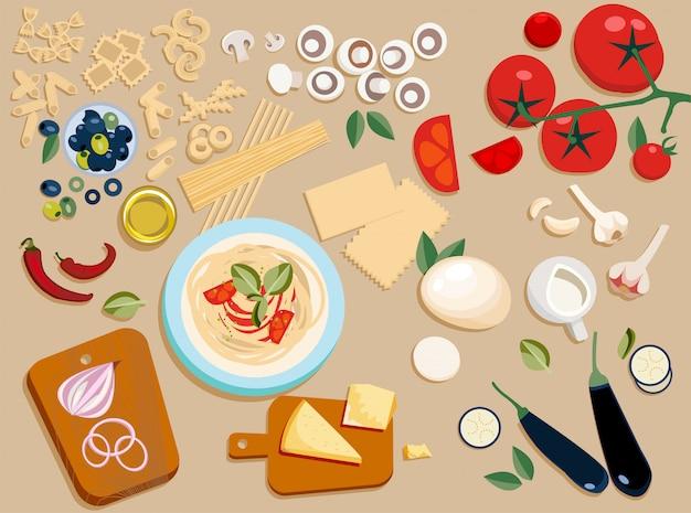 Ingredienti per la pasta messi insieme e tagliati a pezzi Vettore Premium