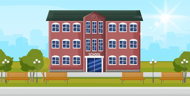 Ingresso alla scuola edificio di facciata di educazione. torna al concetto di scuola stile piatto Vettore Premium