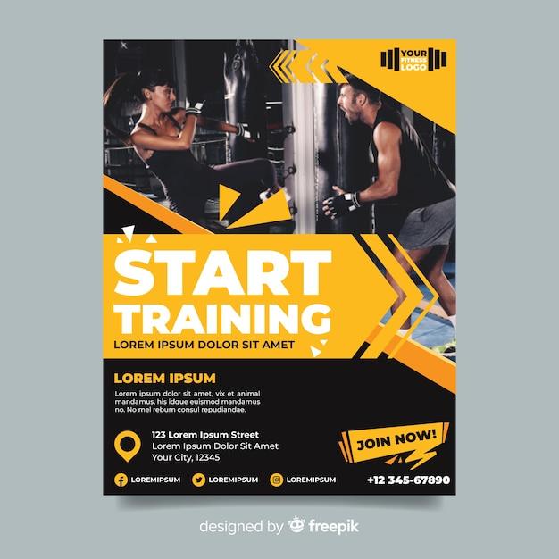 Inizia ad allenare il volantino sportivo con l'immagine Vettore gratuito