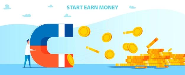 Inizia guadagna soldi motivazione con man holds magnet Vettore Premium