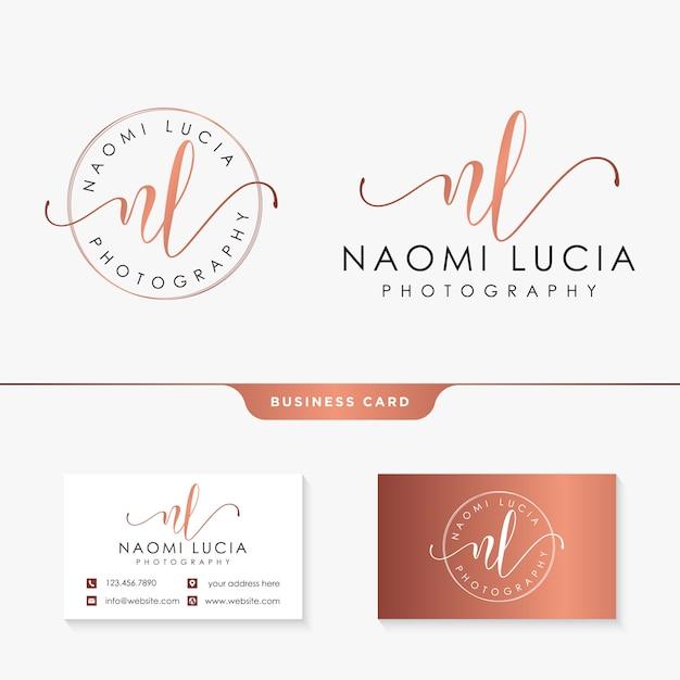 Iniziale nl modello logo femminile e biglietto da visita Vettore Premium