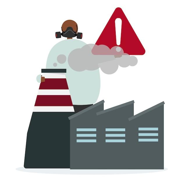 Inquinamento atmosferico della fabbrica e rischi Vettore gratuito