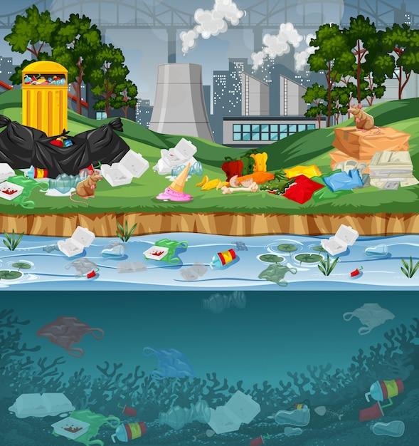 Inquinamento delle acque con sacchetti di plastica nel parco Vettore gratuito
