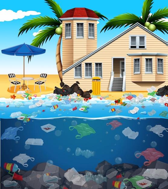 Inquinamento delle acque con sacchetti di plastica nell'oceano Vettore Premium