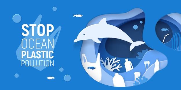 Inquinamento plastico oceanico. la carta ha tagliato il fondo subacqueo con immondizia di plastica, delfini e barriere coralline. Vettore Premium