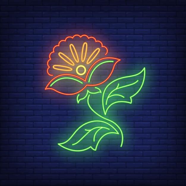 Insegna al neon astratta dell'emblema del fiore Vettore gratuito
