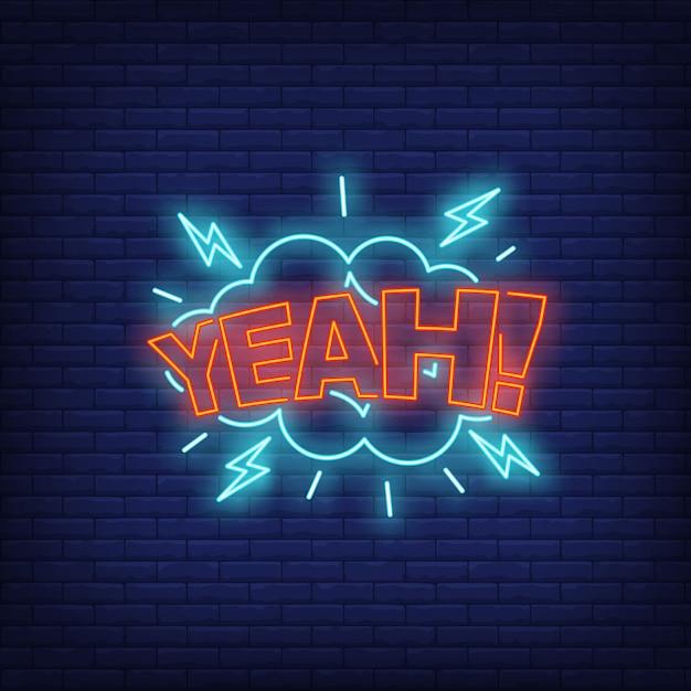 Insegna al neon con scritta yeah Vettore gratuito