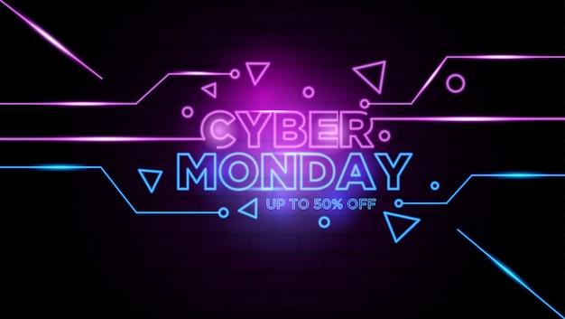 Insegna al neon cyber lunedì sfondo Vettore Premium