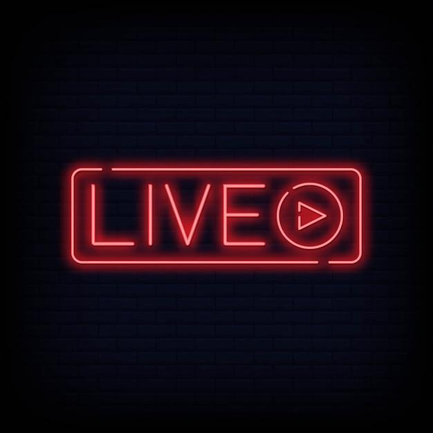 Insegna al neon dal vivo Vettore Premium