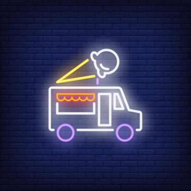 Insegna al neon del camion del gelato Vettore gratuito