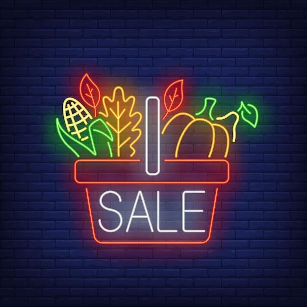 Insegna al neon del cestino dell'alimento di ringraziamento Vettore gratuito