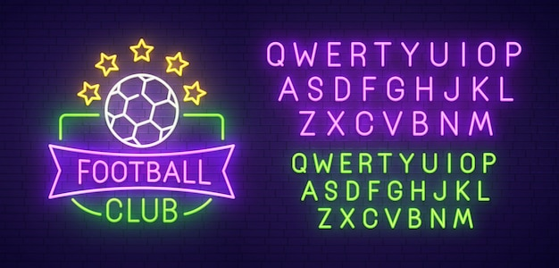 Insegna al neon del club di calcio Vettore Premium