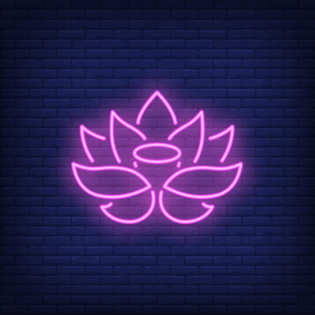 Insegna al neon del loto rosa Vettore gratuito
