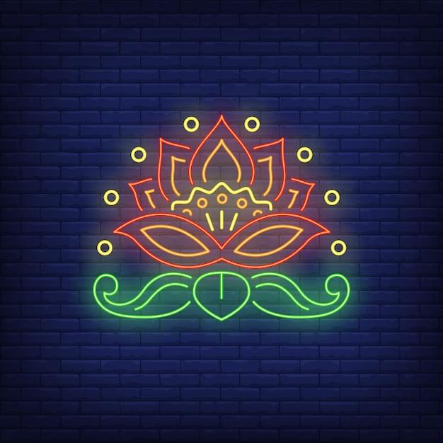 Insegna al neon dell'emblema del bello fiore Vettore gratuito