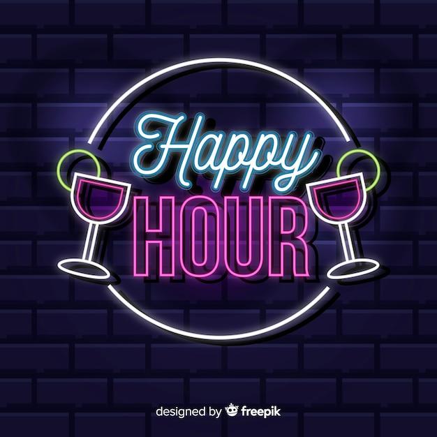 Insegna al neon dell'happy hour con i cocktail Vettore gratuito