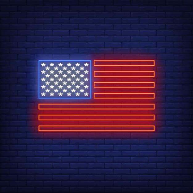 Insegna al neon della bandiera americana Vettore gratuito