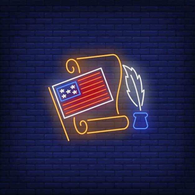 Insegna al neon della dichiarazione di indipendenza Vettore gratuito