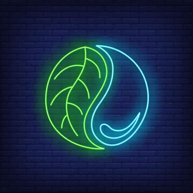 Insegna al neon della goccia di acqua e della foglia yin yang. Vettore gratuito