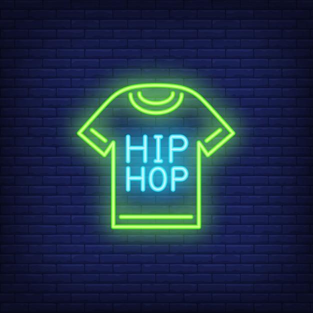 Insegna al neon della maglietta hip-hop Vettore gratuito